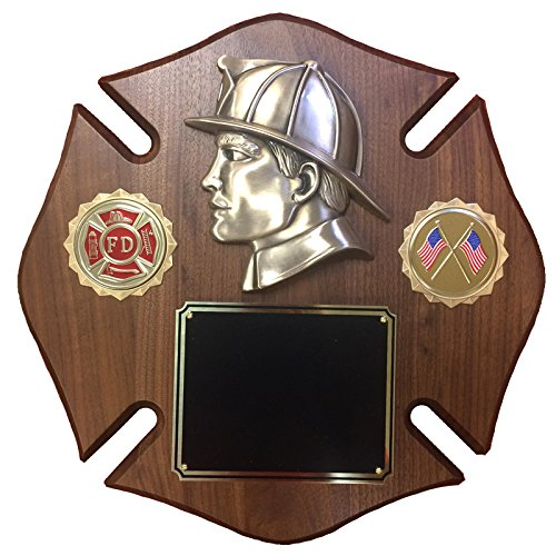 Customizable 12 x 12 Inch Maltese Cross Walnut Veneer Plaque with Fire Department and American Flag, includes ()