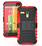 moto g gen 1 case - JKase DIABLO Series Tough Rugged Dual Layer Protection Case Cover with Build in Stand for Motorola Moto G SmartPhone (2013 1st Gen Only) - Retail Packaging (Red)