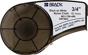"Brady M21-750-499 16' Length, 0.75"" Width, B-499 Nylon Cloth, Black On White Label for BMP21, ID PAL, and LABPAL Printers"