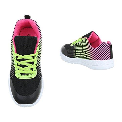 Zapatos para mujer Zapatillas Plano Zapatillas altas Ital-Design Negro Multi EL20008