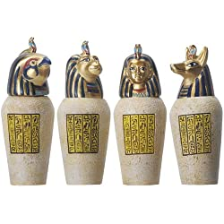Egyptian Canopic Jar Set of 4 Pieces 3.5H Jackal Falcom Human Lion