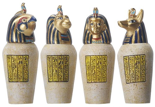 Egyptian Canopic Jars (Egyptian Canopic Jar Set of 4 Pieces 3.5H Jackal Falcom Human Lion)