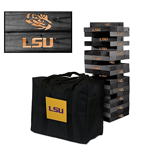 NCAA LSU Louisiana State Tigers 873004LSU Louisiana State Tigers Onyx Stained Giant Wooden Tumble Tower Game, Multicolor, One Size by Victory Tailgate
