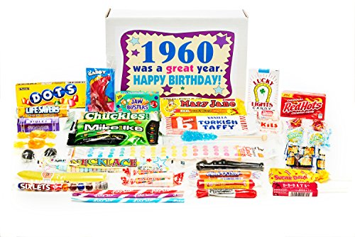 Woodstock Candy ~ 1960 59th Birthday Gift Box Nostalgic Retro Candy Mix from Childhood for 59 Year Old Man or Woman Born 1960 Jr Classic Candy Gift Box