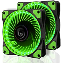 2 Pack LeaningTech LTC LitFlow 120mm 32 LED Quiet Long Life High Airflow Cooling PC Case fan for Computer Case, CPU Cooler and Radiator Green