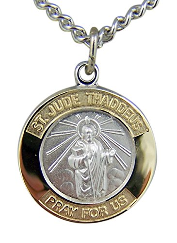Gold and Sterling Silver Tu-Toned Saint St Jude Medal Pendant, 5/8 Inch 5/8 Inch Wide Charm Pendant