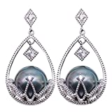 JYX Sterling Silver 10mm Black Tahitian Cultured Pearl Dangle Earrings Dotted with Zircons
