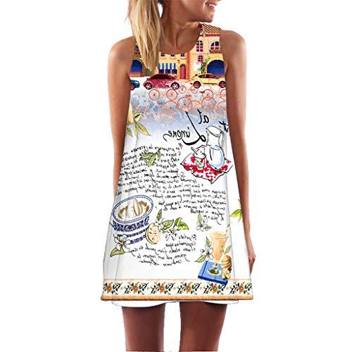 Lloopyting Women's Sleeveless Shift Dress Bohemian Print Scoop Neck Loose Plain Casual Mini Dress Beach Party Cocktail Dress White ()