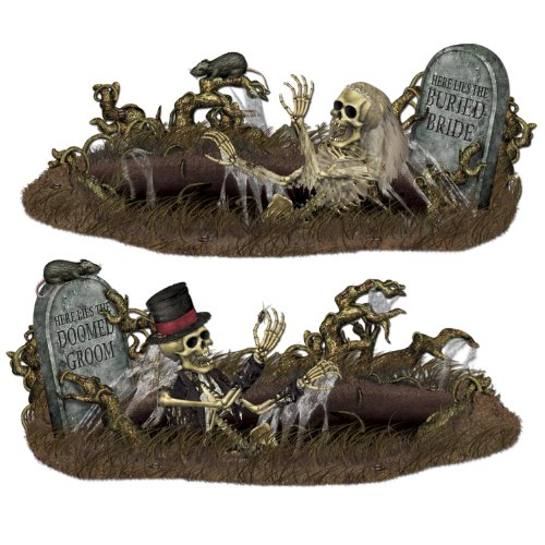 [Beistle 00907 Printed Doomed Groom and Buried Bride Props, 33.5
