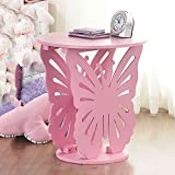 Top Home Solutions Children's Wooden Butterfly Table Round Side End Lamp Table Kids Girls Bedroom (Pink)