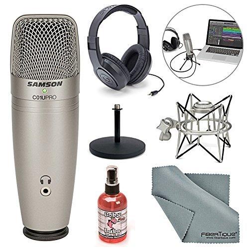 Samson C01U Pro - Micrófono de condensador USB con soporte de choque para araña, soporte de computadora, desinfectante de...