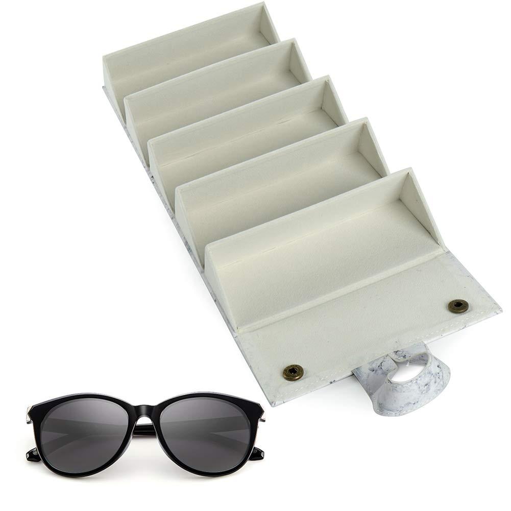 Amazon.com: 5 ranuras de cuero gafas de sol organizador de ...