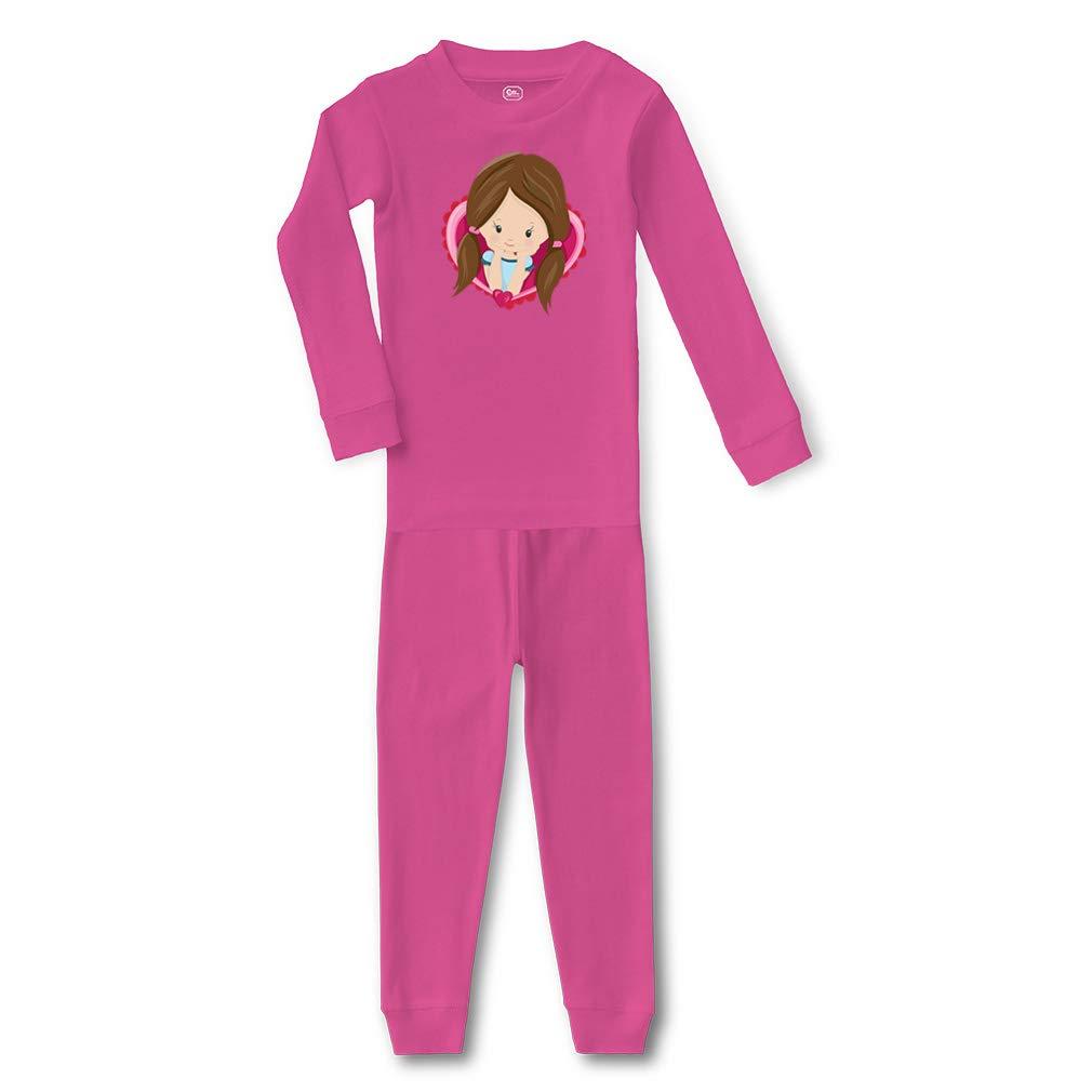 Valentine Girls Blonde Hair Buns #2 Cotton Sleepwear Pajama 2 Pcs Set