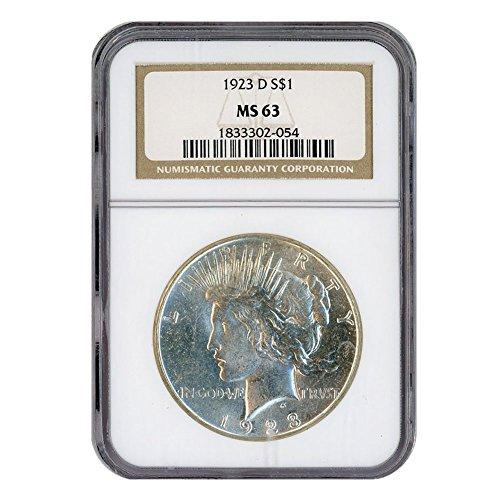1923 D Peace Silver Dollar $1 MS63 NGC