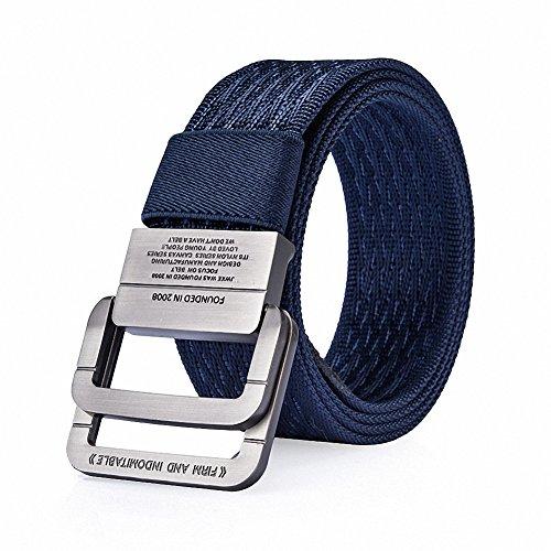 Navy Canvas Belt (WJINER D-Ring Buckle Men Dress Canvas Elastic Fabric Woven Stretch Braided Belts Web Waistband (Navy)