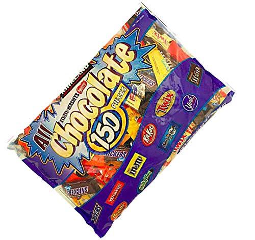 (Kirkland Signature All Chocolate Candy Bars Bulk Assortment for Halloween, Parties, School - 150 Pcs (5.6)