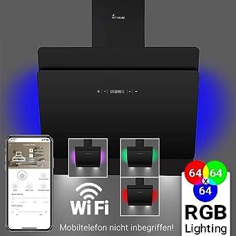 Dunstabzugshaube Wandhaube 60cm Kopffrei Smart App RGB Beleuchtung Touch LED Anzeige Amazonde Elektro Grossgerate