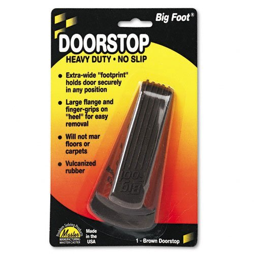 Master Caster Products - Master Caster - Big Foot Doorstop, No-Slip Rubber Wedge, 2-1/4w x 4-3/4d x 1-1/4h, Brown - Sold As 1 Each - Wedge style, nonslip rubber with extra-wide flange. - For homes and offices. - Highly-visible colors designed to prevent tripping, falls and accidents.