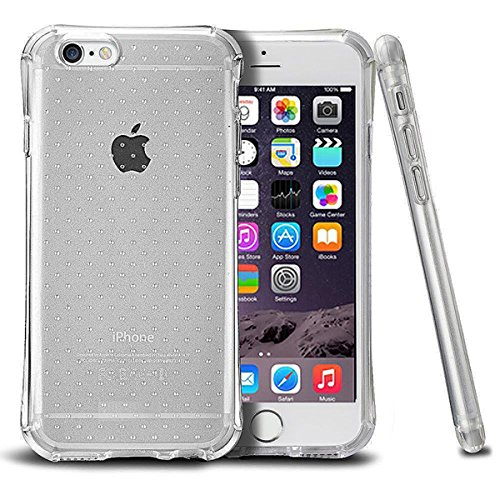 Grey Transparent Dot Anti­Slip Bumper TPU Phone Case for iPhone 6 and 6S with Screen Protector and Cable Protector Included
