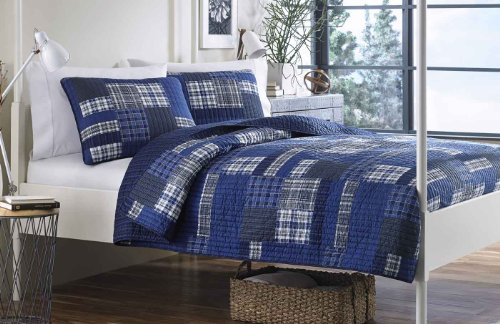 Eddie Bauer Eastmont 3 Piece Cotton Reversible Quilt Set, Full/Queen, Blue