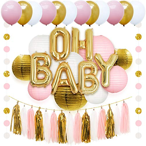 NICROLANDEE Pink and Gold Party Decorations OH Baby Mylar Letter Balloon White Round Paper Lanterns Tissue Tassel Banner Glitter Garland Party Balloon for Girls Baby Shower 1st Birthday Party Decor