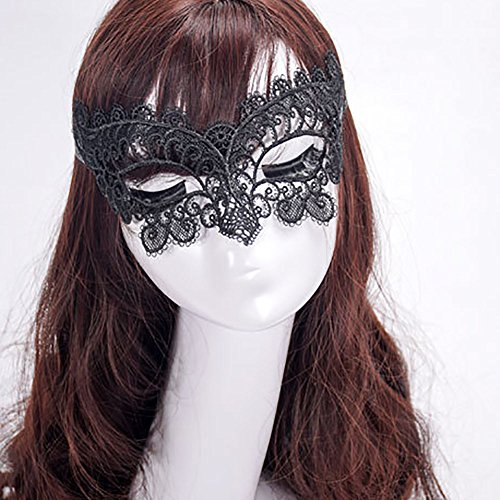 Hot Sale!DEESEE(TM)Masquerade Lace Mask Catwoman Halloween Black Cutout Prom Party Mask Accessories]()