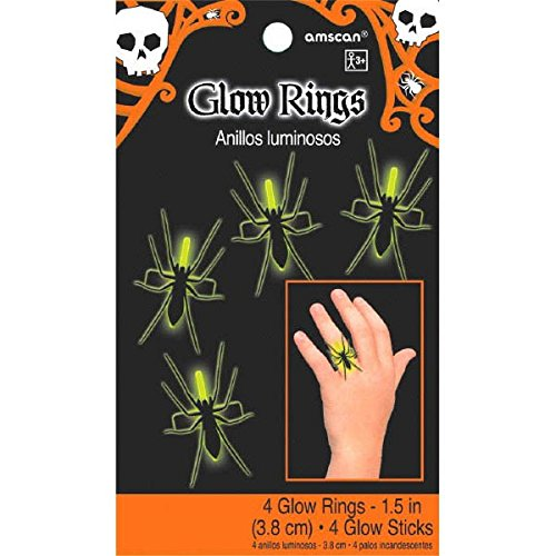 Amscan Family Friendly Halloween Trick or Treat Spider Glow Ring Party Favor (4 Pack), 1 1/2