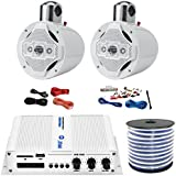 Pyle PFMRA350BW 2-Channel Bridgeable 200 Watts RMS Marine Amplifier, 2x Lanzar AQWB8W 8 4 Way 1,200 Watts Wake Board Tower Speakers - White, Pyle 8 Gauge Amp Install Kit, Enrock 18g Speaker Wire