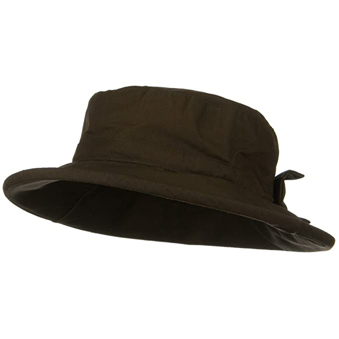 bc791fca6f9 e4Hats.com Waxed Cotton Canvas Ladies Wide Brim Bucket Hat - Brown at  Amazon Women s Clothing store