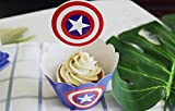 Betop House Set of 12 Pieces Captain America Super Heros Themed Party Kids Birthday Baby Shower Cake and Cupcake Decorative Topper Wrappers Kit Party Supplies
