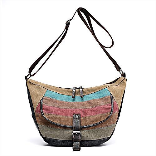 (SAMSHOWS Women Canvas Cross Body Shoulder Tote Handbag Multi-Color Striped Lattice Hobo Shopping Travel Satchel bag)
