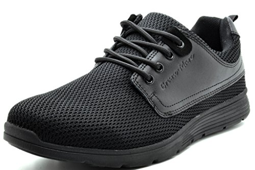 BRUNO MARC DP118 M New Mens Fashion Comfortable Breathable Mesh Light Weight Lace Up Fashion Sneakers Shoes ALL BLACK SZ 10