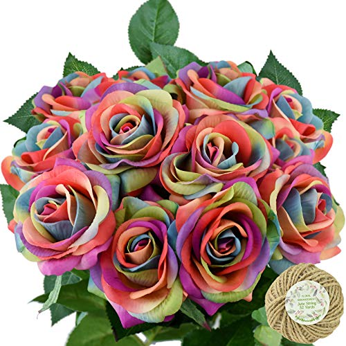 (FiveSeasonStuff Fake Roses Wedding Flowers Real Touch Silk Rainbow Artificial Flowers 12 Stems )
