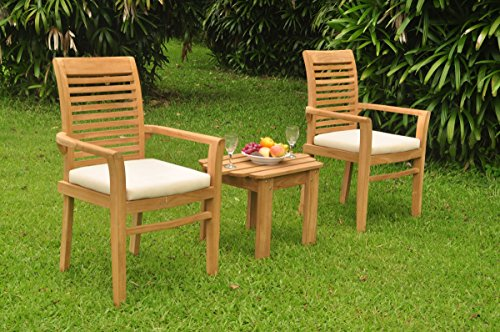 2 Seats 3 Pcs Grade-A Teak Wood Dining Set: Adirondack Side Table and 2 Mas Stacking Arm Chairs #WHDSMS47