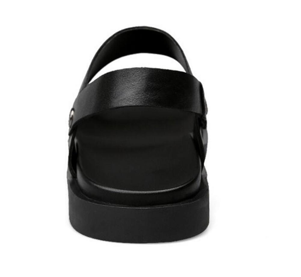NSLXIE Männer Schuhe Aus Echtem Leder Sandalen Slipper Strand Sommer Pull auf Slipper Sandalen Offene Spitze Atmungsaktive Slides Rutschfeste Größe 38 Bis 44, EU43 schwarz-eu44 9e7796