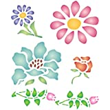 "FLOWER STENCIL (size: 3.25""w x 4""h) Reusable Stencils for Painting - Best Quality Wall Art Decor Ideas - Use for SCRAPBOOKING, Walls, Floors, Fabrics, Glass, Wood, Cards, and More…"