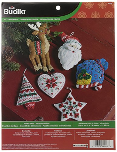 Bucilla Felt Applique Ornament Kit, 3.5 by 4.5-Inch, 86666 Nordic Santa (Set of 6) (Ornament Kits)