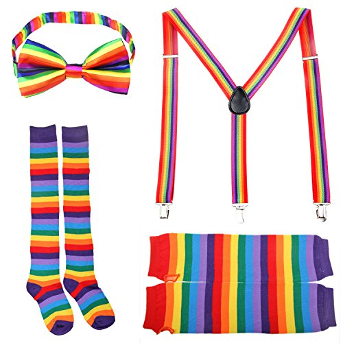 [Boys Girls Adult Rainbow Bow Tie Suspenders Fingerless Long Gloves Socks(E)] (80s School Girl Costume)