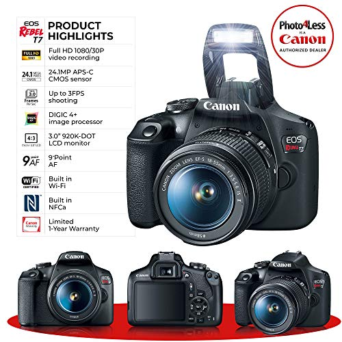 Canon EOS Rebel T7 Digital SLR Camera Bundle + EF-S 18-55mm f/3.5-5.6 is II + Canon 200ES Shoulder Bag + Transcend 64GB…