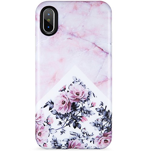 VIVIBIN iPhone X XS Case for Girls,Cute Pink Marble Flower for Women Clear Bumper Soft Silicone Rubber Matte TPU Cover Slim Fit Best Protective Thin Phone Case for iPhone X/iPhone Xs[5.8]