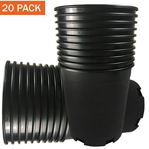CaliPots 20-Pack 1 Gallon Premium Black Plastic Nursery Plant Container Garden Planter Pots (1 Gallon) by Calipots