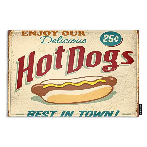 HGOD DESIGNS Food Doormat,Vintage Hot Dogs Metal Sign Indoor/Outdoor Doormat Door Mat Decor Rug Non Slip Mats 23.6