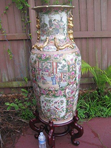 Chinese Rose Medallion Porcelain Gilt Floor VASE, 95cm, Late Qing ()