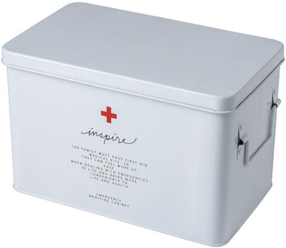 SupShop Botiquín, Medicina Almacenamiento Kit, Caja de Medicina del Hogar, Caja de Almacenamiento de Medicamentos,Caja metálica de Primeros Auxilios con asa Lateral - Metal,White,L: Amazon.es: Salud y cuidado personal