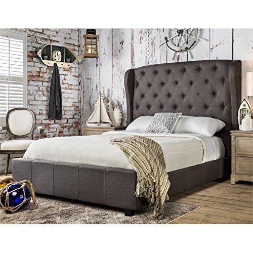 Furniture of America Callista Flax Fabric Bed with Wingback Tufted Headboard Design, California King, Gray ()