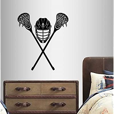 Wall Vinyl Decal Home Decor Art Sticker Crossed Lacrosse Stick Helmet Sports Sportsman Boy Man Kids Room Removable Stylish Mural Unique Design: Home Improvement