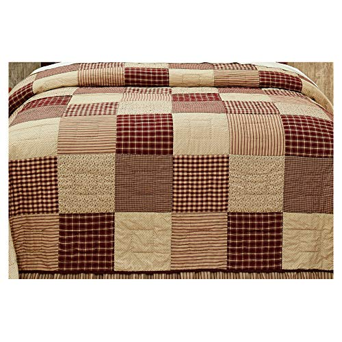 Cheston Patchwork Block King Quilt - Primitive Country Burgundy