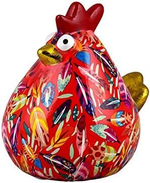 Tirelire Poule Originale en C/éramique Motif Rouge avec des Plumes Bo/îte-Cadeau Gratuite Pomme Pidou Poule Matilda Taille Moyenne 15x13x15cm