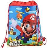 Super Mario Luigi Drawstring Bag PE Bag Lunch Bag Various Designs Christmas Mario Gift (Red)