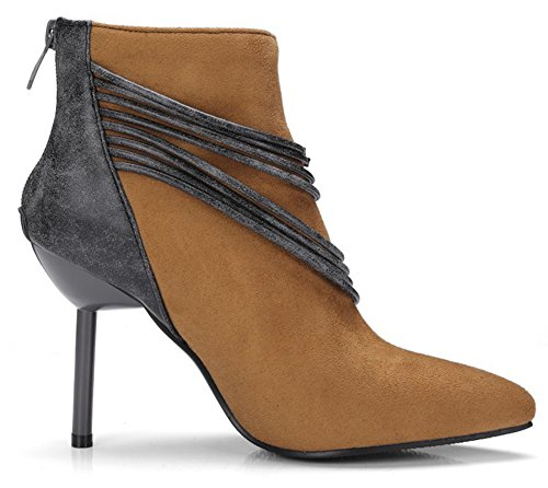 Aisun Damen Sexy Spitz Zehen Schnüre Kette Stiletto High Heels Reißverschluss Kurzschaft Stiefel Braun